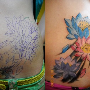 Coverup and expansion of an old faded tattoo