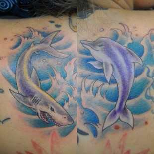 dolphin and shark tattoo