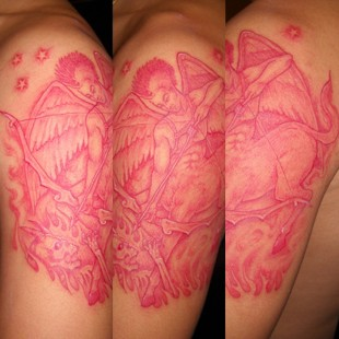 Angelic warrior tattoo in red ink 2