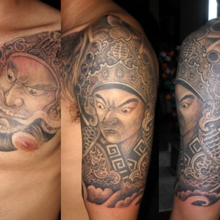 Detailed japanese traditional soldier tattoo and warrior mask tattoo
