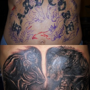 Coverup of a hardcore text tattoo