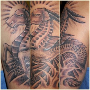 chinese water dragon tattoo sleeve in black and white