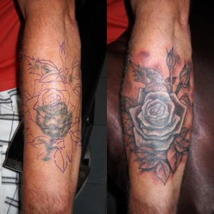 A faded rose tattoo coverup
