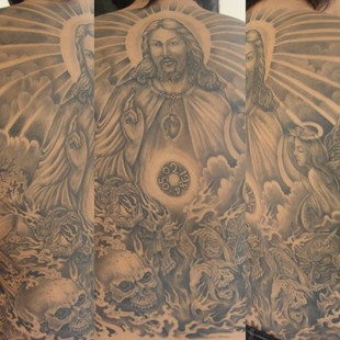 A full back tattoo of jesus