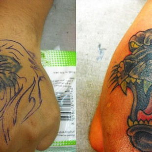 puma cat tatoo coverup