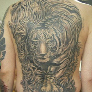 Full back black and white Japanese style tiger tattoo