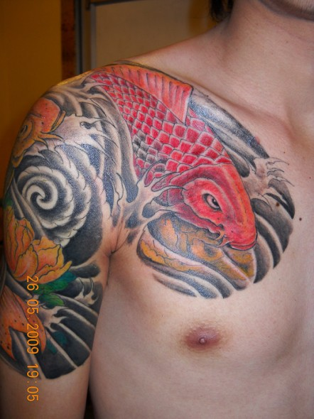 Koi Fish Tattoo Chest