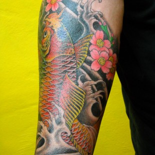 Japanese style tattoo partial sleeve with Japanese koi design 2