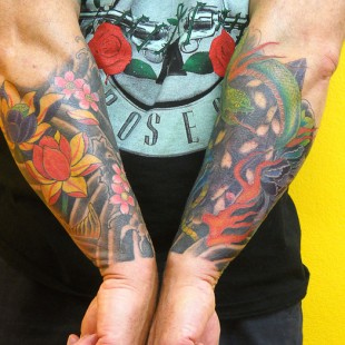 Japanese style lower arm sleeve tattoo 3