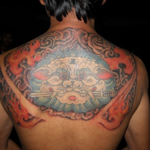 Chinese dragon partial back tattoo