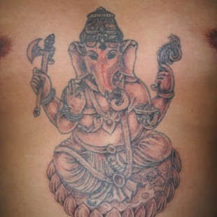 Gansesha tattoo with red shading and details