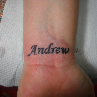 A tattoo of a name.