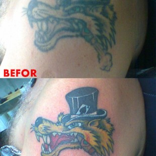 Before and after shots of a tattoo restoration