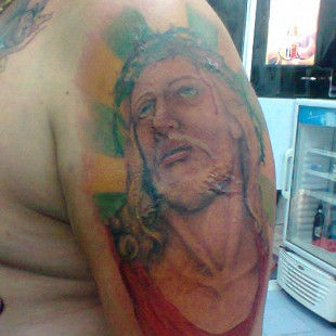 Religious Christian tattoo portrait of Jesus