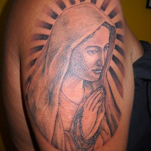 Virgin Mary Tattoo in black and white